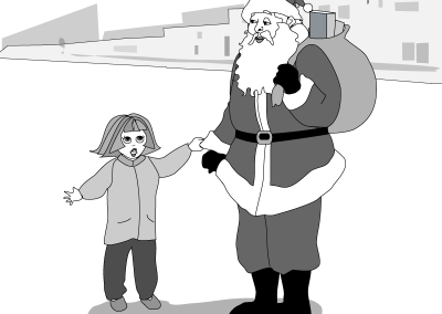 Santa and girl cartoon